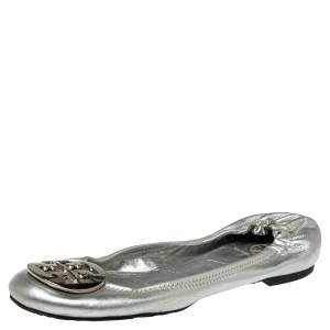 Tory Burch Metallic Silver Leather Reva Scrunch Ballet Flats Size 38.5