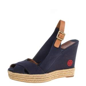Tory Burch Blue/Brown Canvas And Leather Criss Cross Wedge Espadrilles Size 37.5