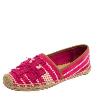 Tory Burch Pink/White Canvas And Leather Espadrille Size 38