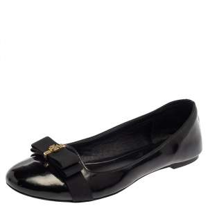 Tory Burch Black Patent Leather Trudy Bow Ballet Flats Size 39.5