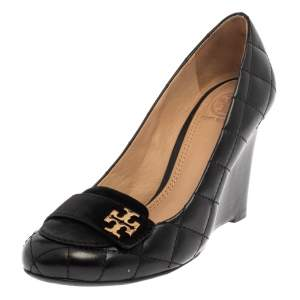 Tory Burch Black Quilted Leather Wedge Pumps Size 36.5