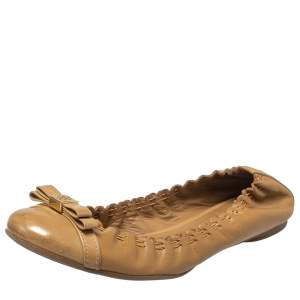 Tory Burch Beige Leather Romy Ballet Flats Size 38