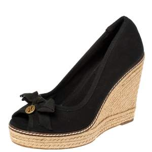 Tory Burch Black Canvas Jackie Bow Espadrille Wedge Pumps Size 38