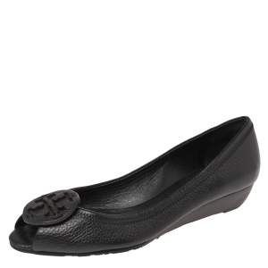 Tory Burch Black Leather Wedge Flats Size 37.5