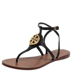 Tory Burch Black Leather Logo Embellished Thong Flat Sandals Size 37