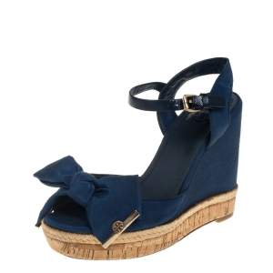Tory Burch Blue Canvas And Leather Espadrille Wedge  Ankle Strap Sandals Size 36.5