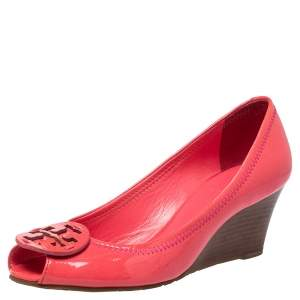 Tory Burch Pink Patent Leather Wedge Peep Toe Pumps Size 38
