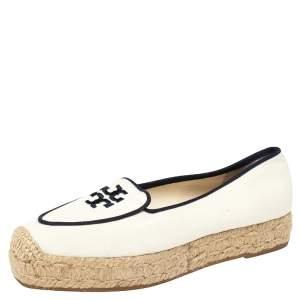 حذاء إسباديل فلات تورى برش نعل سميك ويلز كانفاس أبيض مقاس 35.5