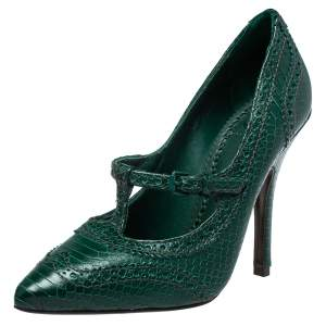 Tory Burch Green Python Embossed Leather Everly Pumps Size 36