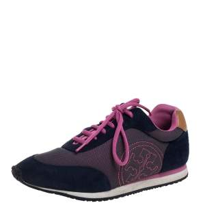 Tory Burch Blue/Pink Suede And Mesh Low Top Sneakers Size 39