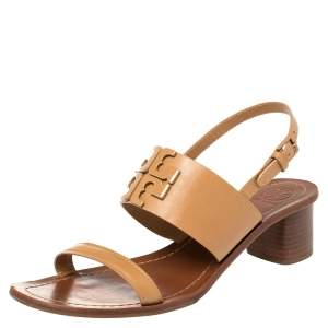 Tory Burch Brown leather Lowell Blond Sandals Size 39.5