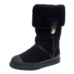 Tory Burch Black Suede And Fur Ankle Boots Size 37