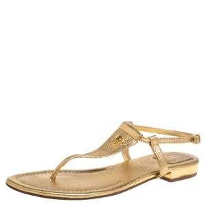 Tory Burch Gold Leather Thong Flat Sandals Size 39