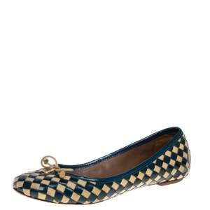 Tory Burch Blue/Beige Patent Leather And Woven Fabric Ballet Flats Size 37