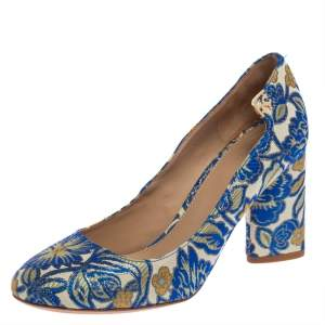 Tory Burch Multicolor Jacquard Fabric New Classic Luxury Heel Pumps Size 38.5