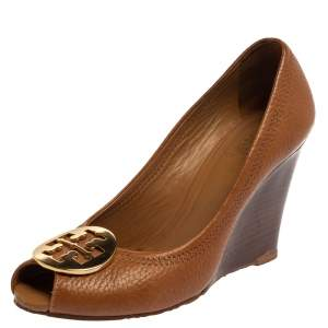 Tory Burch Tan Leather Wedge Peep Toe Pumps Size 37