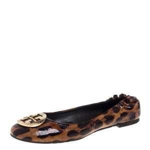 Tory Burch Brown Leopard Print Patent Leather Ballet Flats Size 37