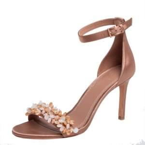 Tory Burch Beige Satin Embellished Logan Sandals Size 36