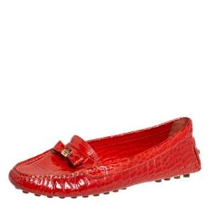 Tory Burch Orange Croc Embossed Leather Bow Loafers Size 38.5