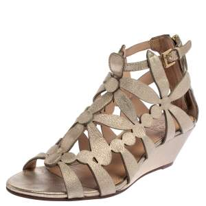 Tory Burch Metallic Gold Leather Cut Out Wedge Sandals Size 36