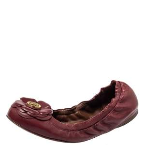 Tory Burch Red Leather Scrunch Ballet Flats Size 36