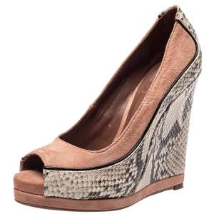 Tory Burch Beige Suede And Two Tone Python Embossed Leather Sandra Wedge Platform Pumps Size 35
