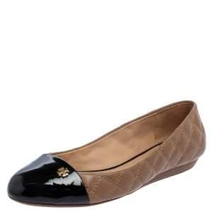Tory Burch Beige/Black Leather Claremont Ballet Flats Size 37.5