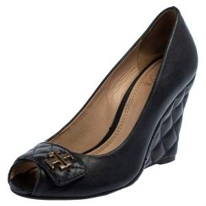 Tory Burch Black Leather Leila Open Toe Wedge Pumps Size 36