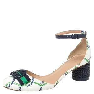 Tory Burch White/Blue Printed Leather Ankle Strap Sandals Size 38