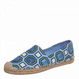 Tory Burch Blue/Green Canvas Espadrille Flats Size 37