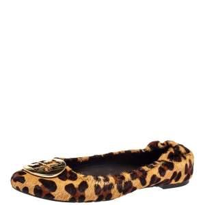 Tory Burch Brown Leopard Print Calf Hair Reva Ballet Flats Size 37.5