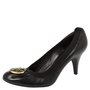 Tory Burch Black Leather Caroline Reva Scrunch Pumps Size 39