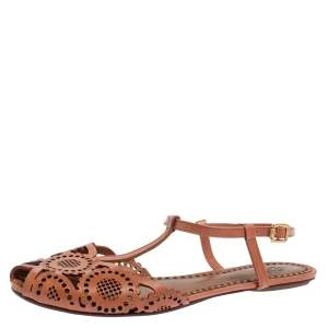Tory Burch Tan Laser Cut Leather Alexa Flat T-strap Sandals Size 38