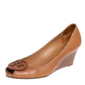 Tory Burch Tan Leather Sally Wedge Pumps Size 39.5