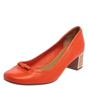 Tory Burch Orange Leather Bow Detail Block Heel Pumps Size 39