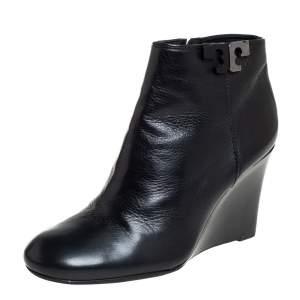 حذاء بوت كاحل توري برش لويل كعب روكي جلد أسود مقاس 37