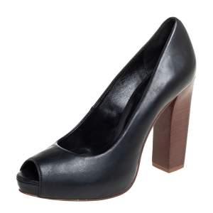 حذاء كعب عالى تورى برش نعل سميك مقدمة مفتوحة كونتريلي جلد أسود مقاس 37