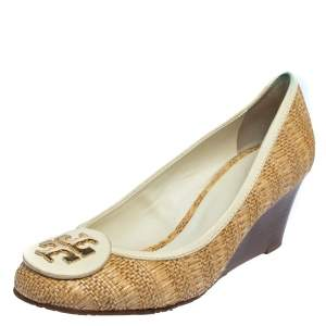 Tory Burch Beige/White Jute And Leather Wedge Pumps Size 38.5