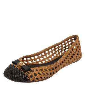 Tory Burch Beige/Black Woven Leather Bow Ballet Flats Size 39