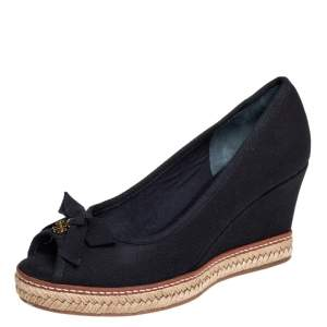 Tory Burch Black Canvas Jackie Espadrille Wedge Pumps Size 37.5