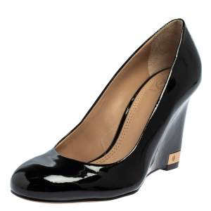 Tory Burch Black Patent Leather Wedge Pumps Size 36.5