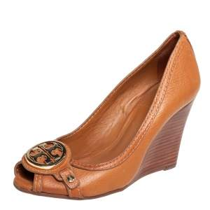 Tory Burch Tan Leather Leticia Peep Toe Wedge Pumps Size 35.5