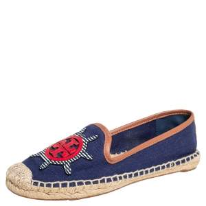 Tory Burch Navy Blue Canvas And Leather Espadrilles Flats Size 37.5