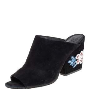 Tory Burch Black Embroidered Suede Mule Sandals Size 38