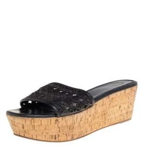 Tory Burch Black Laser Cut Leather Slide Wedge Sandals Size 40.5