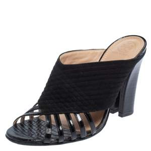 Tory Burch Black Suede And Patent Leather Open Toe Slide Sandals Size 38