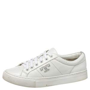 Tory Burch White Leather Chace Low Top Sneakers Size 36