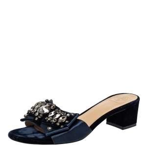 Tory Burch Navy Blue Satin Valentina Bow Slide Sandal Size 37.5
