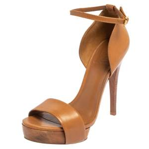 Tory Burch Brown Leather Ankle Strap Sandals Size 38