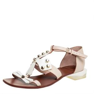 Tory Burch White/Beige Leather Studded Strap Flat Sandals Size 38.5